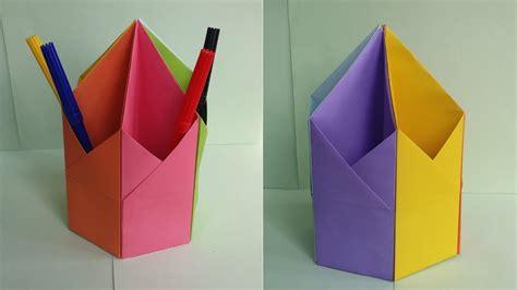 diy pen pencil holder how to make origami hexagonal