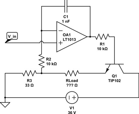 load resistor op op current source achieving a defined settling time with variable load resistance