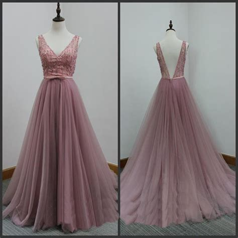 Handmade Evening Dresses - beautiful tull handmade v neckline prom dresses