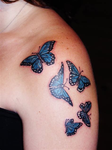 butterfly shoulder tattoos blue butterflies designs on shoulder tattooshunt