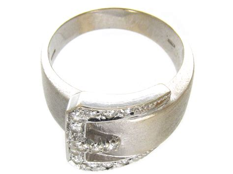 18ct white gold buckle ring the antique jewellery company