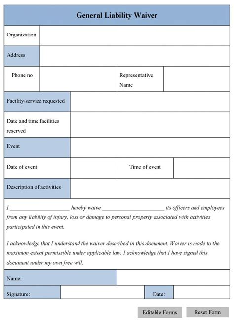 release of liability template printable sle release and waiver of liability agreement