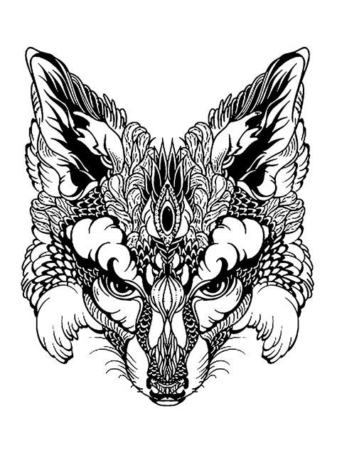 coloring page fox head fox head animals coloring pages for adults justcolor