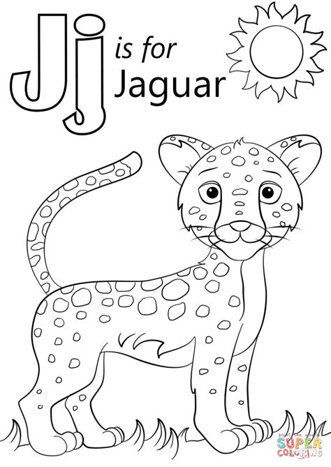 color con j letter j is for jaguar coloring page free printable