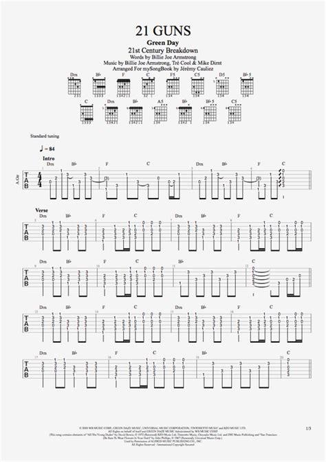 guitar tutorial 21 guns 21 guns by green day guitar vocals guitar pro tab