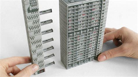 paper craft software brutalist buildings turned into papercraft models co design