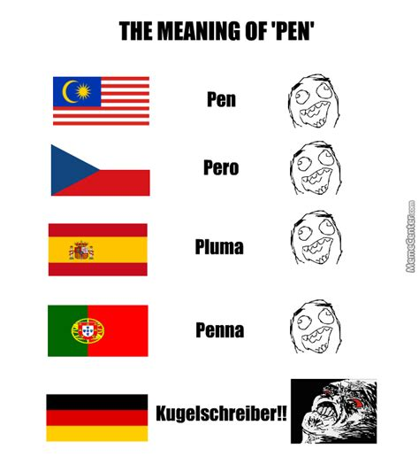 Different Languages Meme - the meaning of pen in different languages by recyclebin