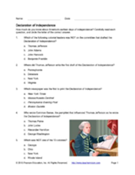 Printable Quiz On Declaration Of Independence | declaration of independence quiz