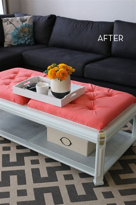 diy upholstered ottoman coffee table make it old coffee table becomes bright ottoman 187 curbly