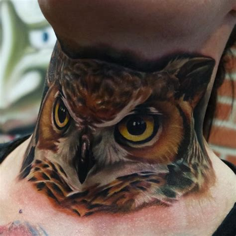 realism owl neck tattoo best tattoo design ideas