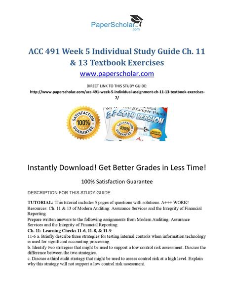Mba Business Week 6 Quiz Ch 13 by Acc 491 Week 5 Individual Study Guide Ch 11 13 Textbook