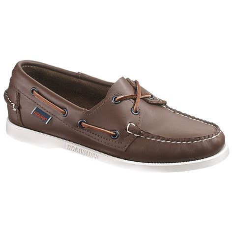 new womens sebago brown elk leather docksides boat shoes