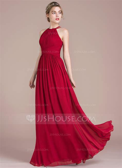 Wedding Prom Dress by A Line Princess Scoop Neck Floor Length Chiffon Prom