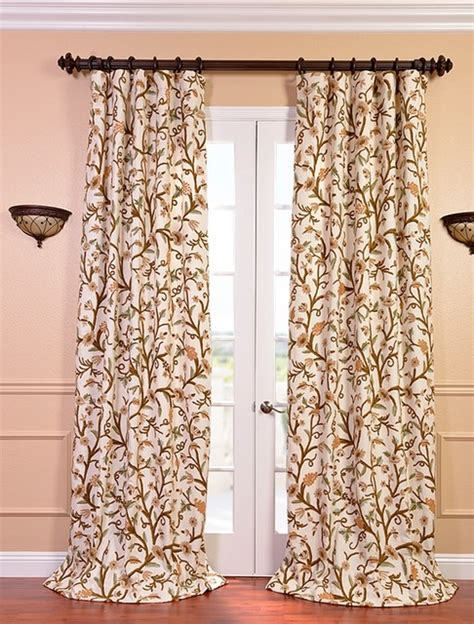 Elise Embroidered Cotton Crewel Curtain Traditional