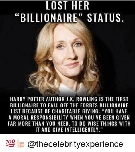 Author Meme - lost her billionaire status harry potter author jk rowling