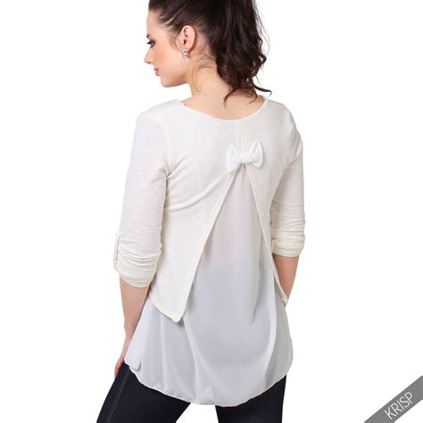 Layer Back Top crop oversize jumper sweater chiffon layer split open back casual top ebay