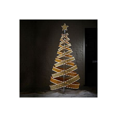 bq pop up christmas trees 6ft olympia ribbon chagne gold effect pop up pre lit tree departments diy