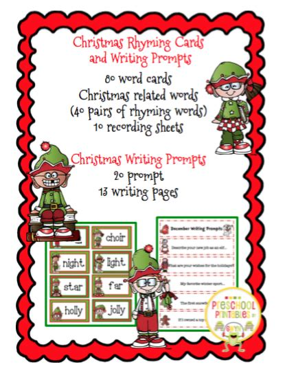 christmas writing activities for 2nd grade rhyming cards and writing prompts 2nd 3rd grade preschool printables