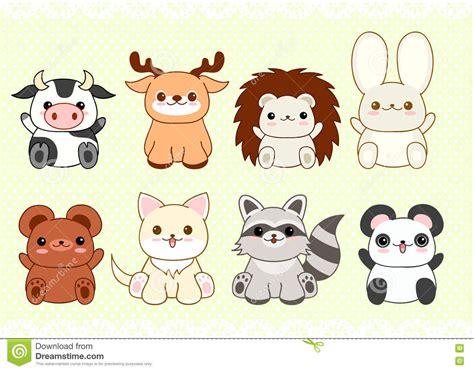 imagenes de animalitos kawaii sistema de animales lindos del beb 233 en estilo del kawaii