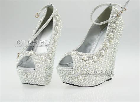 2014 new fashion wedding wedges formal wedding shoes white