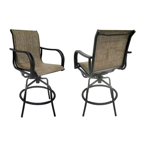Outdoor Patio Bar Chairs Shop Allen Roth Set Of 2 Tenbrook Aluminum Swivel Patio Bar Height Chairs At Lowes