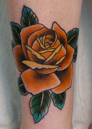 orange rose tattoo awesome orange on leg