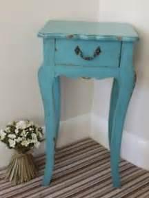 Blue Bedside L Bedside Table 1 Drawer Wooden Cabinet Blue Distressed
