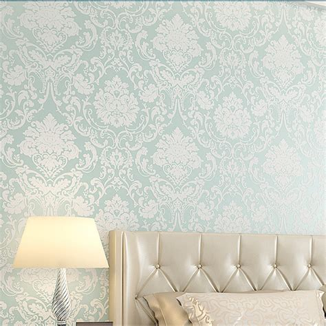 Wallpaper Sticker Motif 10m D750 10m wallpaper roll 4 colors embossed damask design flocked non woven home wall decoration alex nld