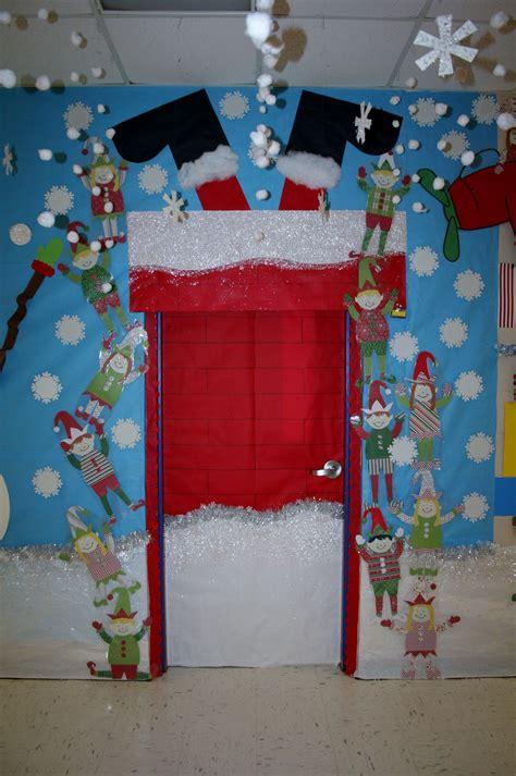 how to decorate doors and chimeny for christmas santa stuck classroom door decoration classroom door decorations