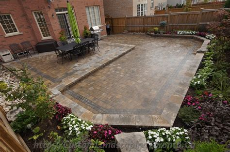 Landscape Toronto Backyard Interlocking Project With Flower Beds Toronto