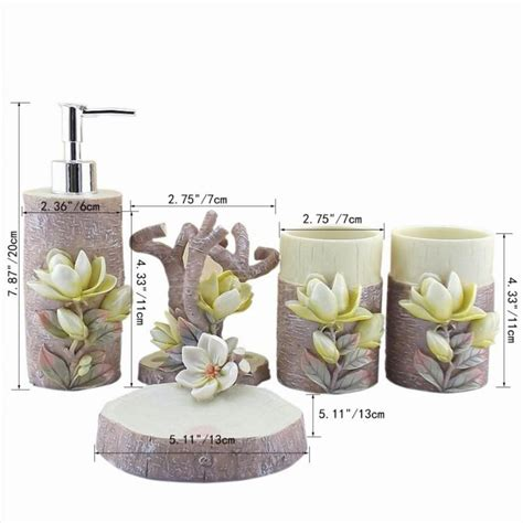 unique bathroom accessories sets 5pcs resin creative lily bathroom sets toothbrush holder