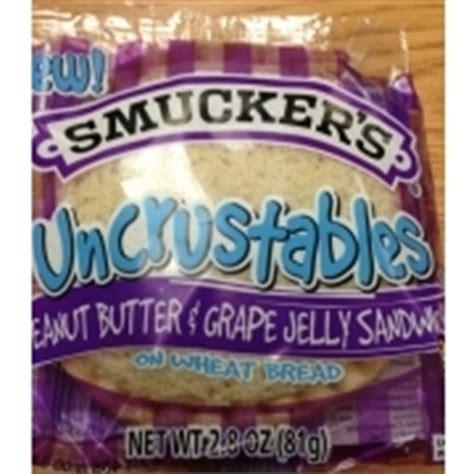 whole grain uncrustables smuckers uncrustables peanut butter grape jelly sandwich