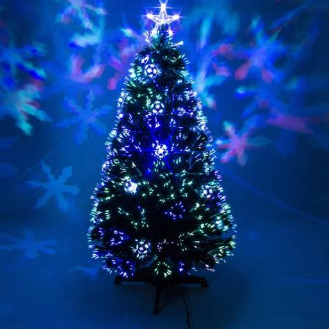 Green Fibre Optic Christmas Tree with Baubles & LEDs ? Garden Trends