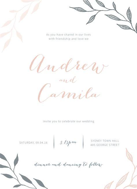 invitation design geelong leaves digital printing wedding invitations