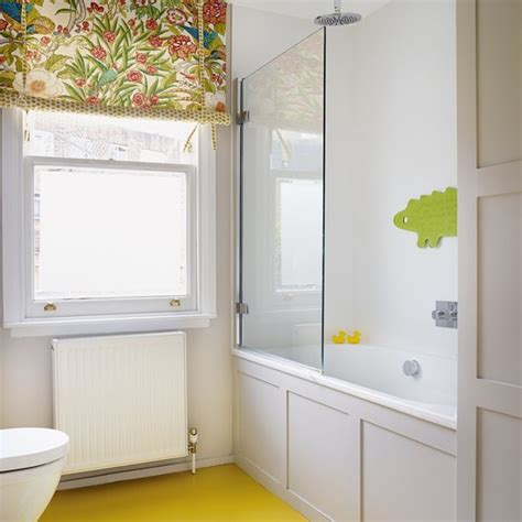 patterned blinds for bathrooms traditional bathroom with patterned blind and yellow floor