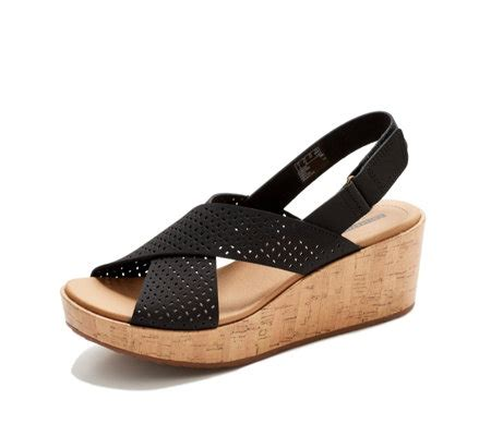Wedges Laser 001 clarks laser cut leather wedge sandal wide fit qvc uk
