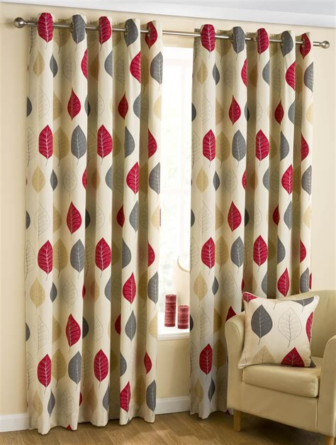 ready made drapes and curtains leaves ready made eyelet curtains red free uk delivery