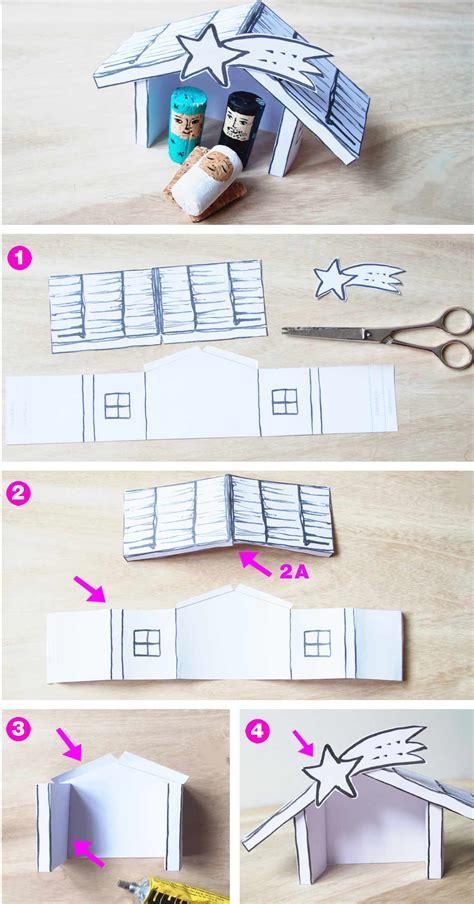free printable diy diy krippe basteln aus korken und papier familicious