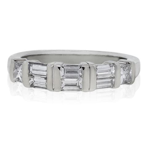 Wedding Bands With Baguettes by Platinum Princess Cut Baguette Wedding Band Ring