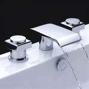 Waterfall Shower Faucet Chrome Finish Double Handle Waterfall Bathtub Faucet