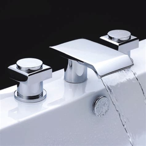 Bathtub Waterfall Faucet | chrome finish double handle waterfall bathtub faucet