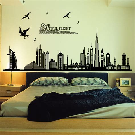 living room wall decals beautiful flight cityscape wallpaper bedrooms vinyl big