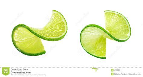 fruit 20 lime twists lime slice twist isolated on white background stock image