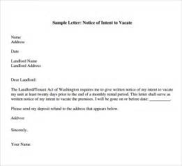 Letter To Vacate Rental Property Sle Letter letter of intent to vacate 7 free documents in pdf word