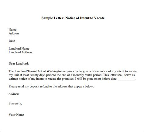 Letter Of Intent To Relocate Exle Letter Of Intent To Vacate 7 Free Documents In Pdf Word