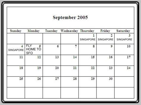September 2005 Calendar July August September Around The World Trip July 29th