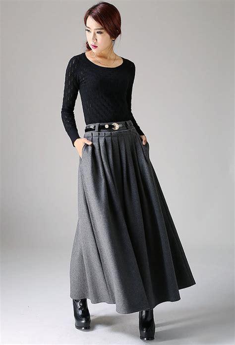 gray wool skirt maxi skirt pleated a by xiaolizi