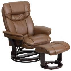 Contemporary leather recliner and ottoman with swiveling mahogany wood