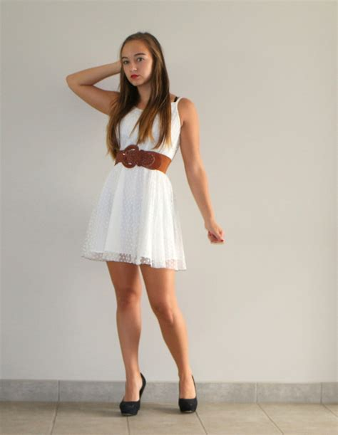 Dress With Belt caro white summer dress brown leather belt black pumps