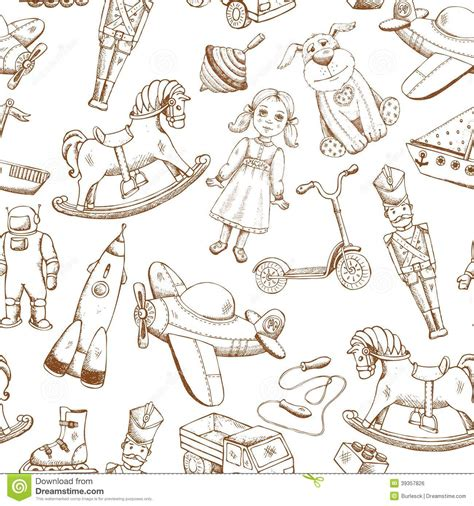 pattern drawing toy vintage hand drawn toys pattern stock vector image 39357826